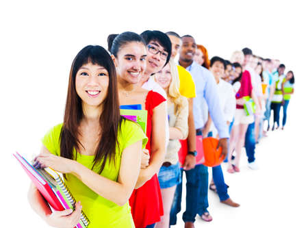 standing in line: Multi-Ethnic Group Student Standing Line Friends Concept