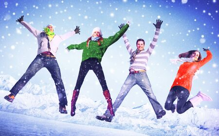 winter celebration: People Winter Jumping Snow Playful Concept