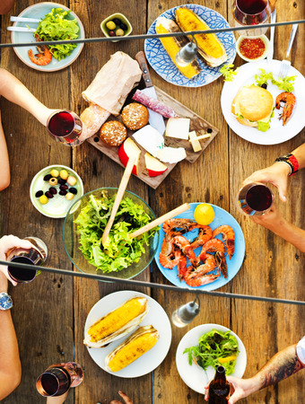 eating out: Friends Friendship Outdoor Dining People Concept Stock Photo
