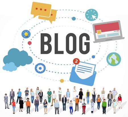 business degree: Blog Blogging Media Messaging Social Media Concept Stock Photo