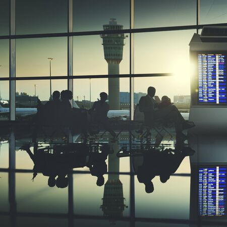 airport: Business People Traveling Airplane Airport Concept Stock Photo