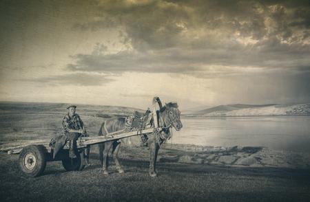 horse cart: Horse Man Sitting Horse Cart Rural Remote Suburb Concept