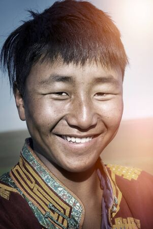 mongolian: Mongolian Man Traditional Dress Solitude Tranquil Concept