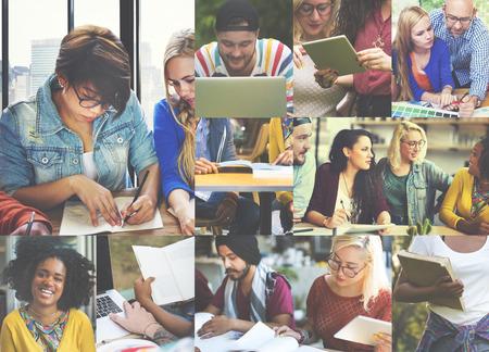 teamwork concept: Diversity College Student Digital Devices Teamwork Concept