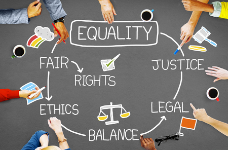career fair: Equality Rights Balance Fair Justice Ethics Concept Stock Photo