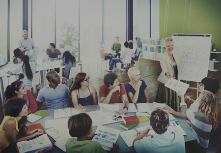 teaching adult: Diverse Students Learning from the Professor Stock Photo