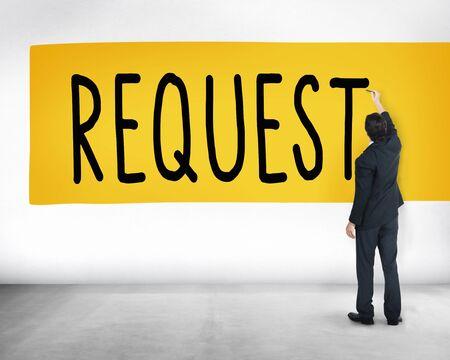desire: Request Require Desire Need Order Demand Concept Stock Photo