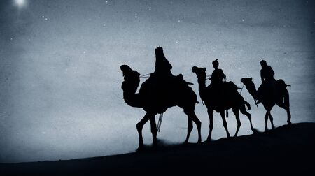 reyes magos: Tres Reyes Desierto Estrella de Belén Natividad Concepto