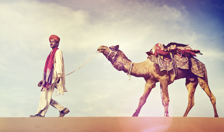 desert scenes: Indian Man Camel Desert Travel Concept