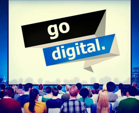 upgrade: Go Digital Modern Latest Technology Upgrade Concept