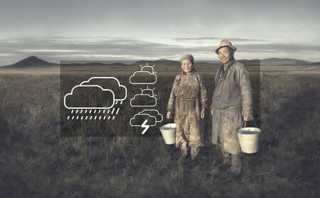 independent mongolia: Mongolian Couple Farmers Holding Basin Field Concept