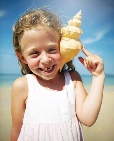 Girl Seashell Seashore Beach Summer Holiday Concept