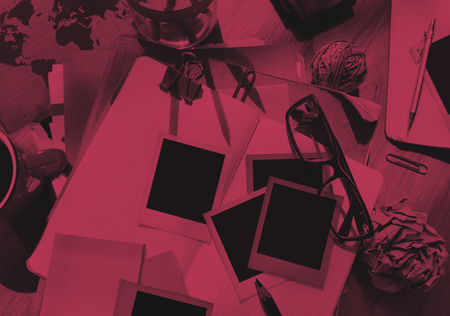 medium group of objects: Photgrapher Messy Desk Working Place Concept