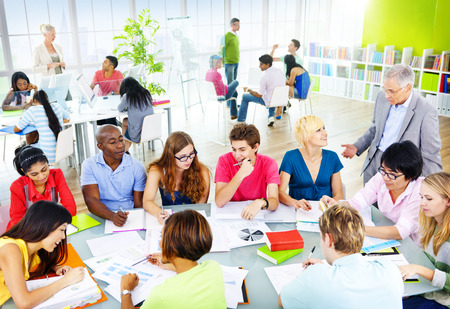 young adult men: Group of Student in the Classroom Discussion Concept