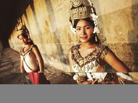 siem reap: Traditional Aspara Dancers Siem Reap Cambodia Concept Stock Photo
