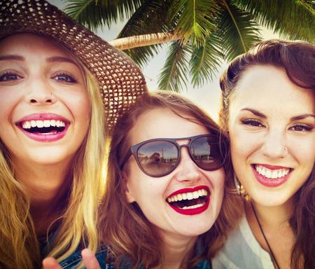 women friendship: Girlfriends Friendship Party Happiness Summer Concept