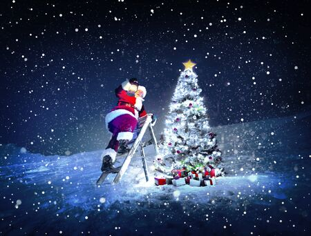 trittleiter: Santa Lamp on a Step-Ladder Christmas Tree Concept