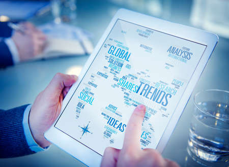 global: Trends World Map Marketing Ideas Social Style Concept Stock Photo