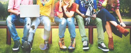 Teenageři Young Team Together Veselá Concept Reklamní fotografie