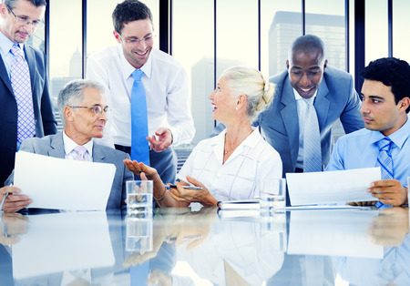 board room: Business People Meeting Discussion Communication Concept Stock Photo