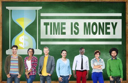 time is money: Time Money Hour Glass Casual People Concept Stock Photo