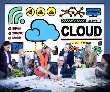 place of work: Cloud Computing Network Storage Online Concept