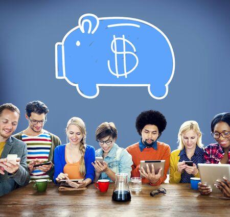 economize: Piggy Bank Saving Money Economize Profit Concept Stock Photo