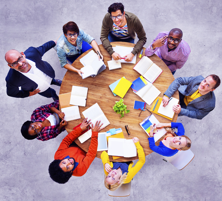 woman looking up: Group of Multiethnic People Looking Up Concept Stock Photo