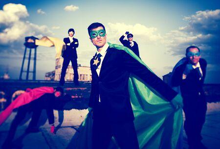 group strength: Superhero Business People Strength Cityscape Team Concept