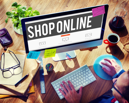 sell: Shop Online Digital Internet Delivery Technology Concept