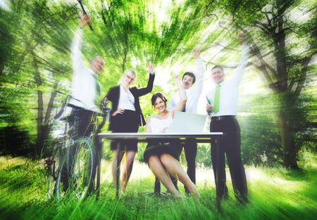 manos levantadas: Business People Hands Raised Environmental Concept Foto de archivo