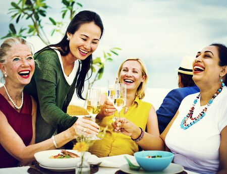 dinner party: Diversity Friends Hanging out Party Dining COncept