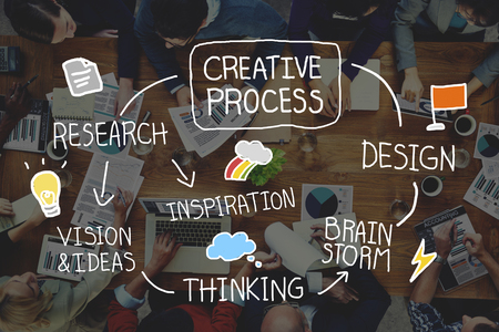 pensamiento creativo: Proceso Creativo Diseño Brainstorm Pensando Visión Ideas Concept Foto de archivo