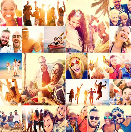 guy on beach: Collage Diverse Faces Summer Beach People Concept