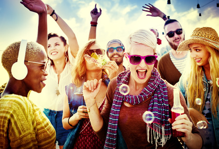 youth: Teenagers Friends Beach Party Happiness Concept Stock Photo