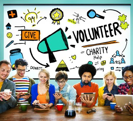 the help: Volunteer Charity Help Sharing Giving Donate Assisting Concept