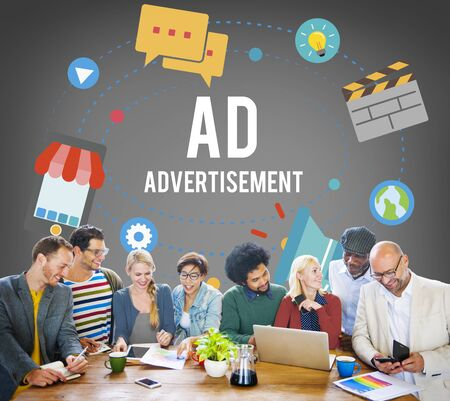 ad: Ad Advertisement Marketing Commercial Concept Stock Photo