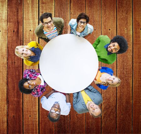 friendship circle: Diverse People Happiness Friendship Cheerful Togetherness Concept Stock Photo