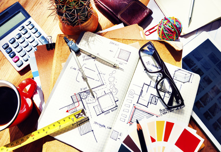 architectural interior: Messy Designers Table Sketch Tools Architect Concept