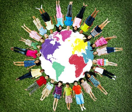 girl lying down: World Map Global International Globalisation Concept
