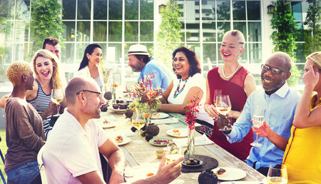 Diverse People Luncheon Food Summer Concept Stock Photo
