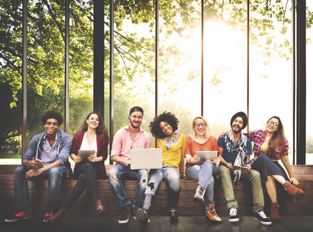 diverse teens: Teenagers Young Team Together Cheerful Concept Stock Photo