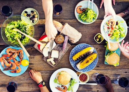 comida: Alimentaria Cuadro Celebraci�n Delicioso Partido Concepto de comidas
