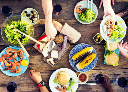 Eten Tabel Viering Delicious Party Maaltijd Concept Stockfoto
