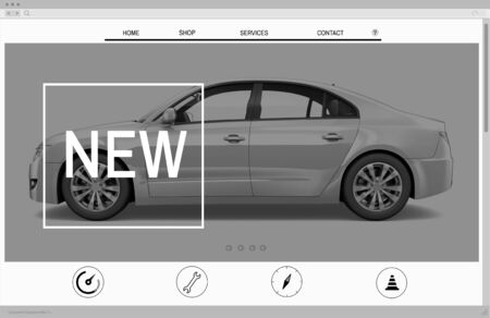 website window: Website Advertising Car Homepage New Arrival Concept
