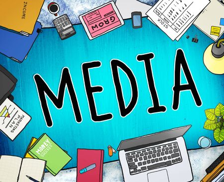 sharing information: Media Advertising Information Multimedia Sharing Concept Stock Photo
