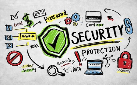 social security: Security Protection Lock Network Firewall Concept