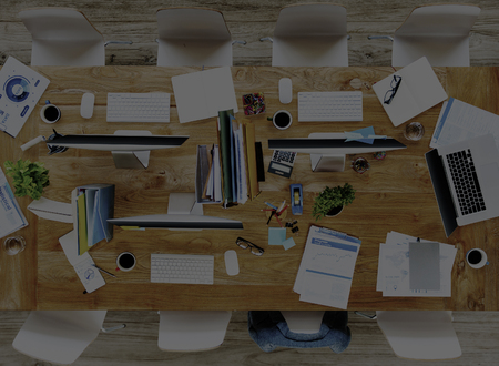 messy office: Messy Office Meeting Table No People Concept