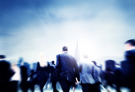 motion: Business People Walking Commuter Travel Motion City Concept Stock Photo