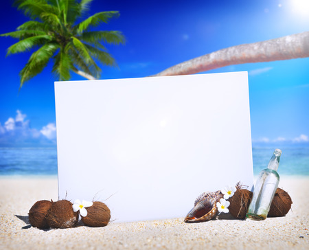 vacation  summer: Paradise Beach Display Copy Space Message Blank Concept
